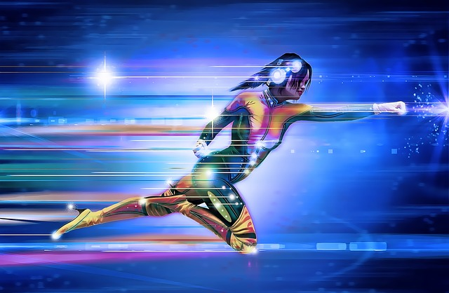 Super woman focused an fast